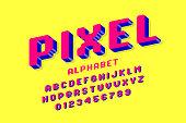 3d pixel style font