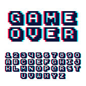 3d pixel video game 8 bit font. Poster typeface with shadow 3d effect.