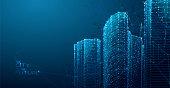3d polygonal City, future, futuristic concept