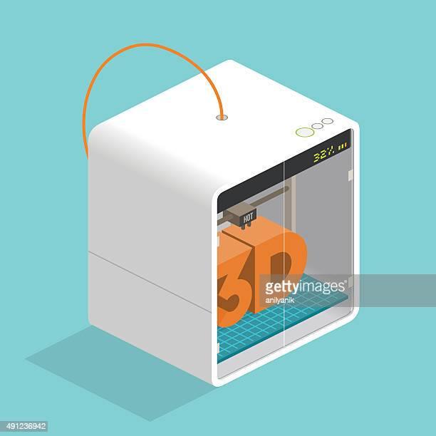 3d printer - 3d printing stock illustrations