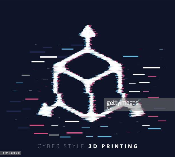 3d printing glitch effect vector icon illustration - wire frame model stock illustrations