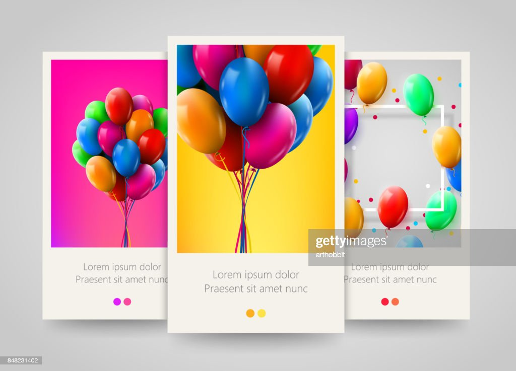 3d Realistic Colorful Bunch of Birthday Balloons Flying for Party and Celebrations. Poster, flyer or ticket design.