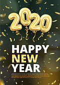 3d realistic isolated vector vertical banner, golden gel balls arranged as a number two thousand twenty, 2020, New Year's balloons with tinsel to decorate your design, christmas, ads
