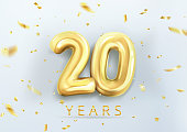 3d realistic isolated vector with number twenty, 20, gold helium balloons for your design decoration, party, birthday, ads