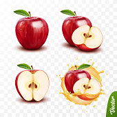 3d realistic transparent isolated vector set, whole and slice of apple, apple in a splash of juice with drops