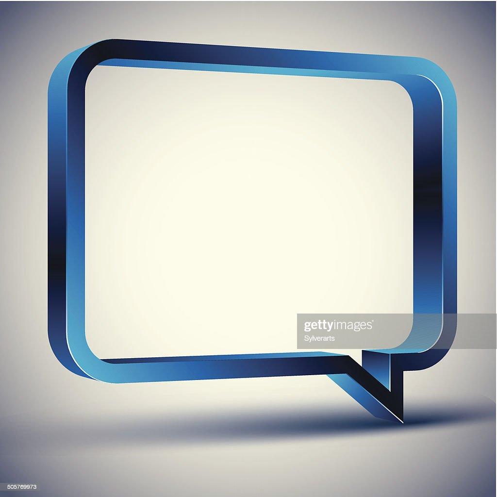 3d rectangular rounded empty speech bubble, vector background.