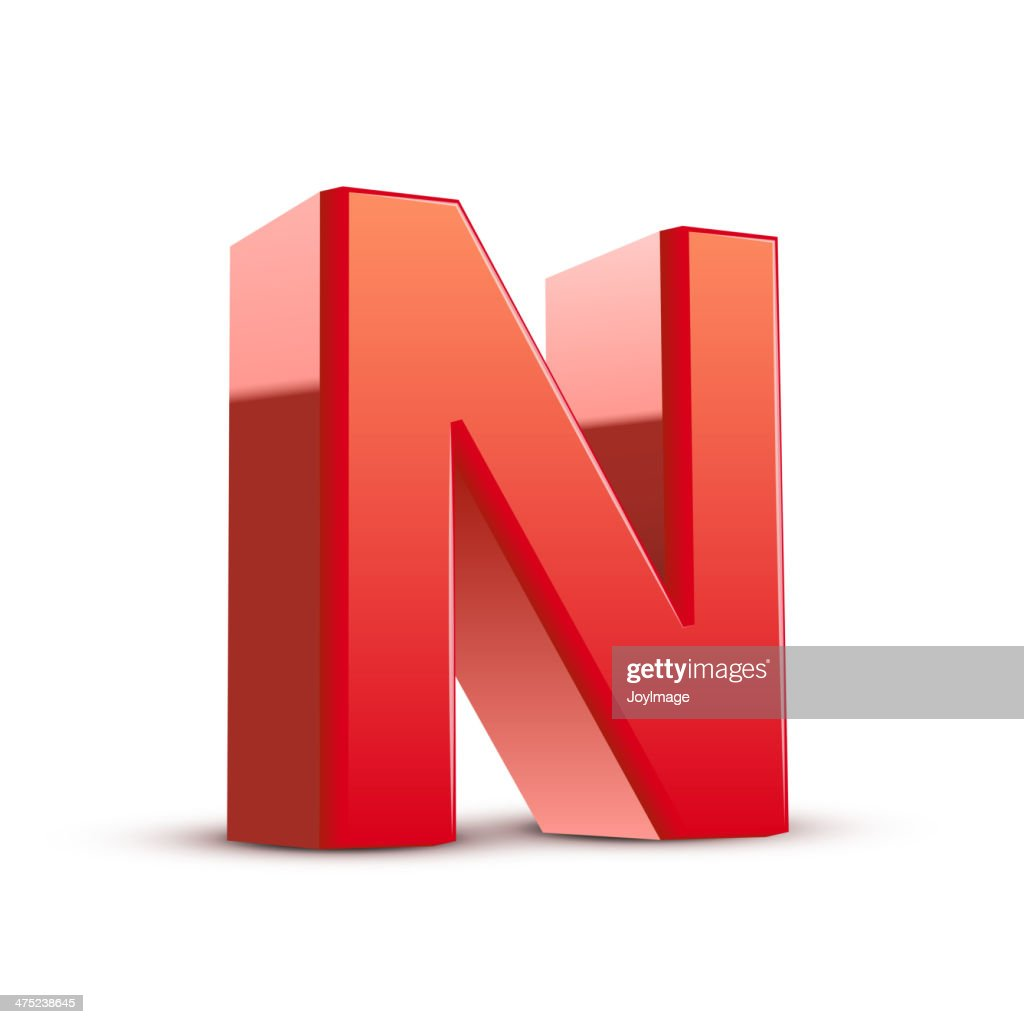 3d red letter N