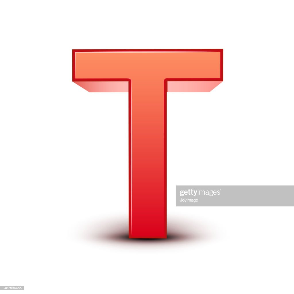 3d red letter T