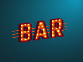 3d retro bar sign with electric bulb.