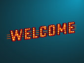 3d retro welcome sign with electric bulb.