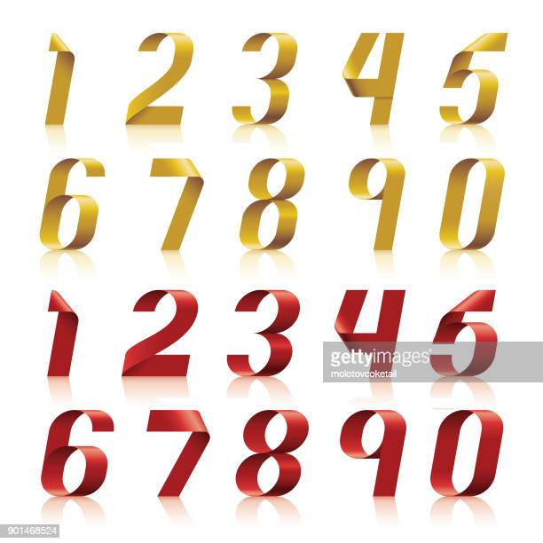 3d ribbon number set in 2 different colors - number stock illustrations
