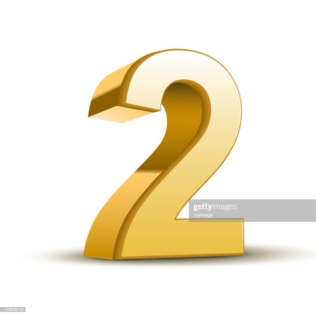 3d shiny golden number 2