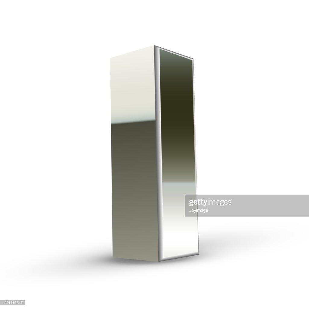 3d silver steel letter I