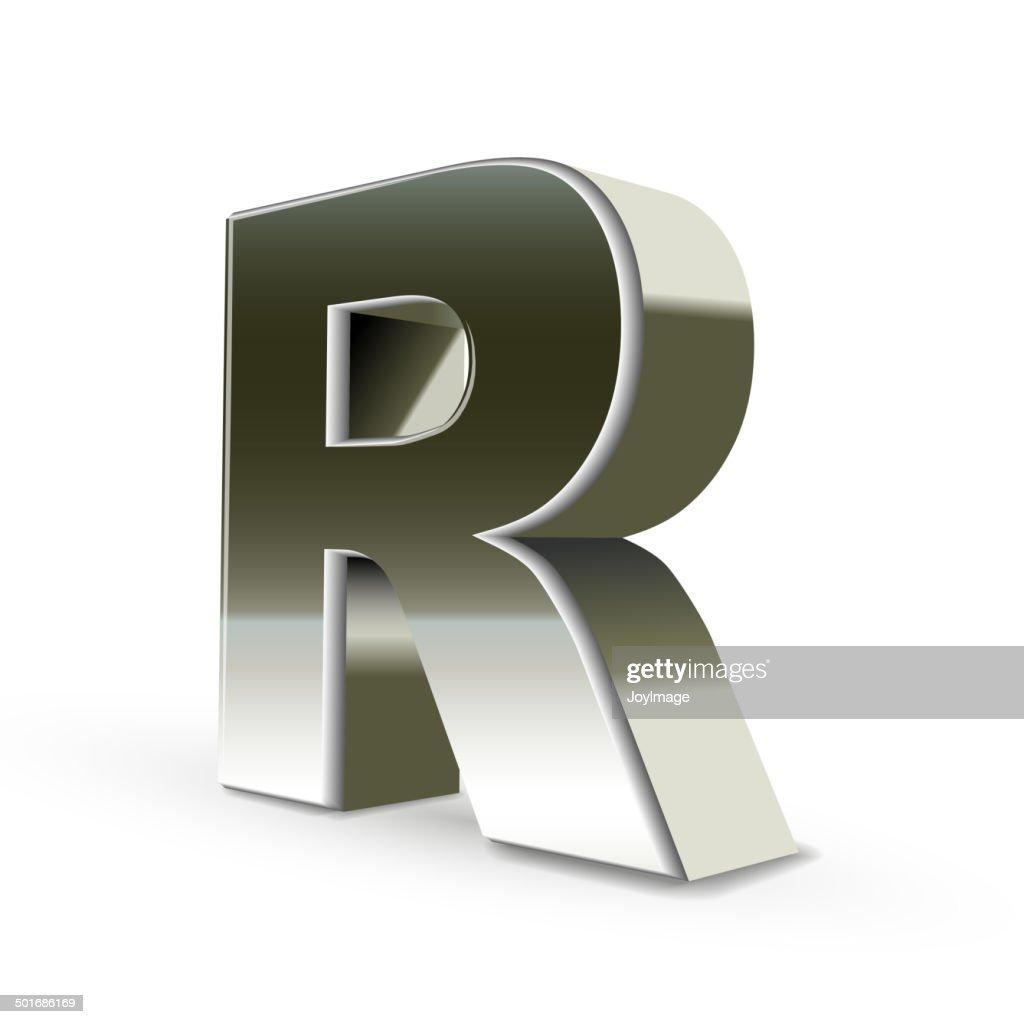 3d silver steel letter R