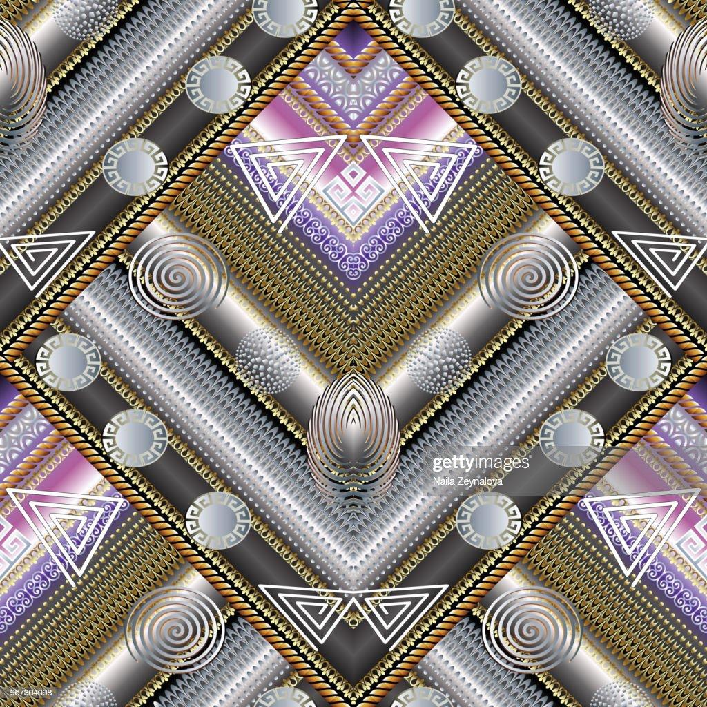3d textured geometric seamless pattern