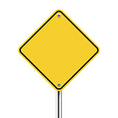 3d vector blank yellow road sign