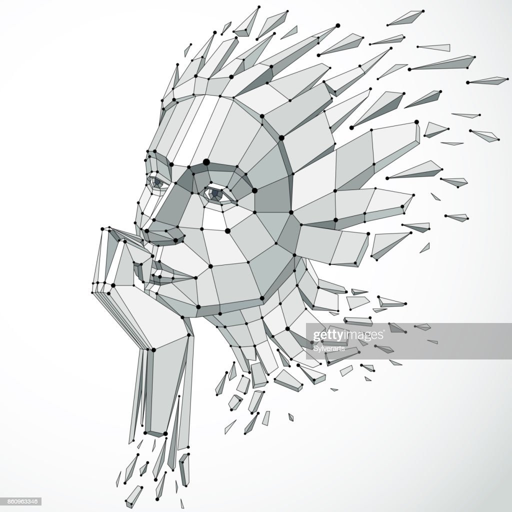 3d Vector Illustration Of Human Head Created In Low Poly Style Face ...