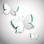 3d vector paper butterfly, illustration for greeting card, cover design