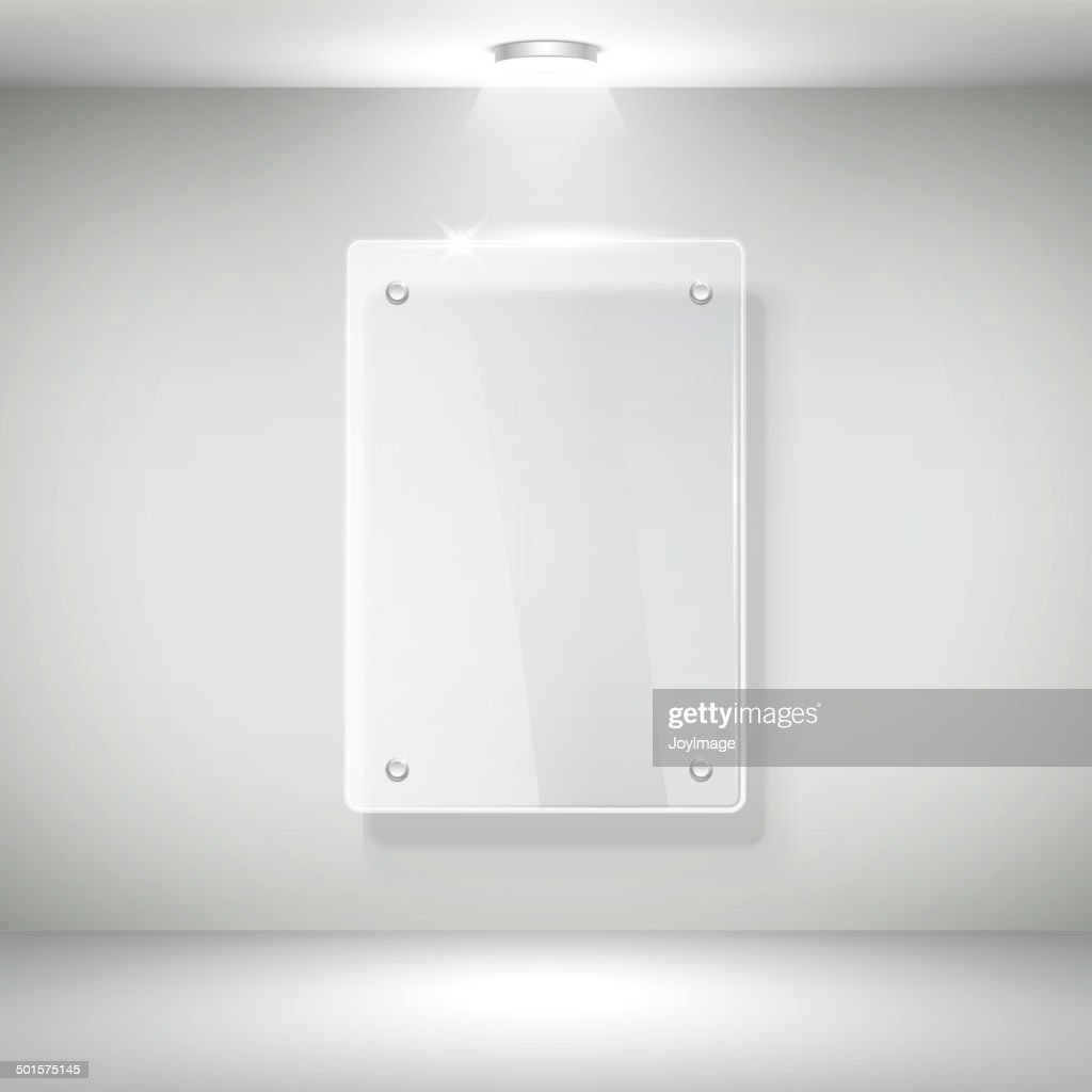 3d vector realistic glass frame on a wall