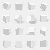 3d white cube set
