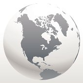 3d world globe icon with white map