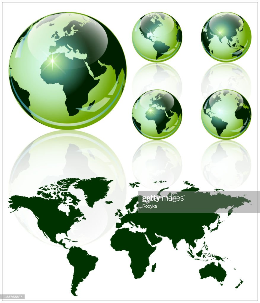 3d world map over the earth globe 4 different views vector art 3d world map over the earth globe 4 different views vector art gumiabroncs Image collections