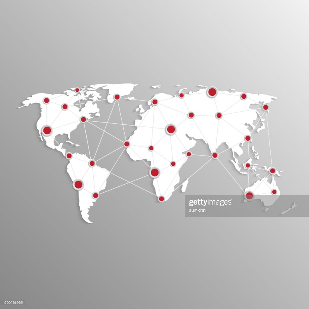 3d world map with red dots and communication system.