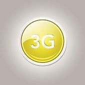 3g Sign Circular Yellow Vector Button Icon