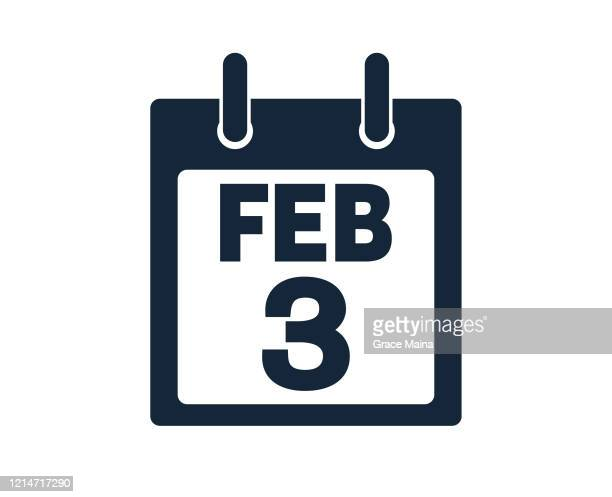 illustrations, cliparts, dessins animés et icônes de 3 février calendrier icon stock vector illustration - 3ème jour d'un événement