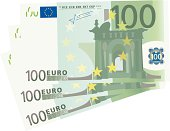 3x 100 Euro bills (isolated)