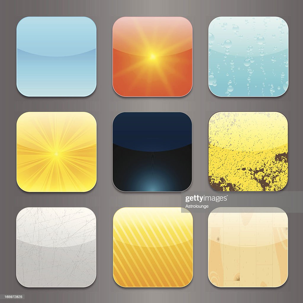3x3 app icon set depiction of different weather patterns