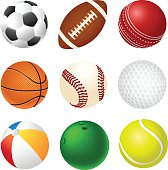 A 3x3 set of different sports balls on a white background