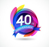 40th anniversary - abstract background with icons and elements