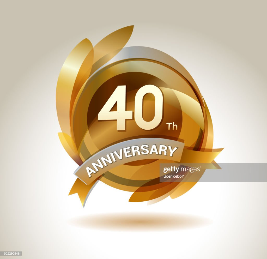 40th anniversary ribbon logo with golden circle and graphic elements