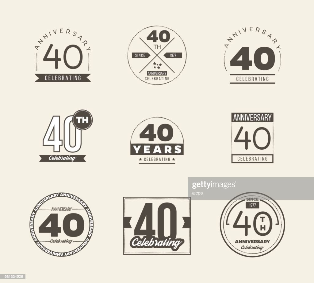 40th anniversary vintage symbol set 40 years symbols vector art