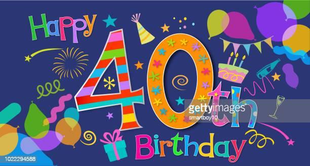 第 40 誕生日のあいさつ - 30歳の誕生日点のイラスト素材/クリップアート素材/マンガ素材/アイコン素材