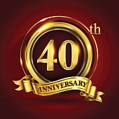 40th years anniversary logo with gold ring and golden ribbon, vector design