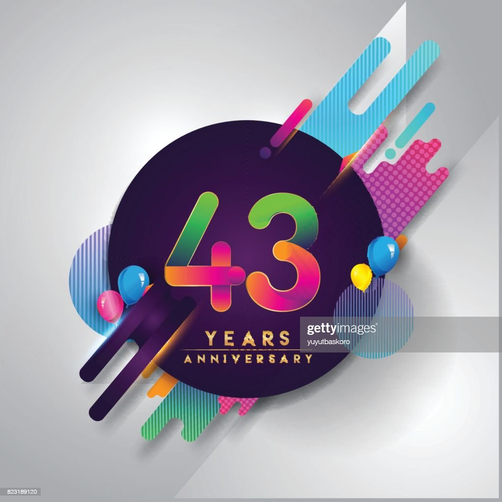 43rd Years Anniversary Symbol With Colorful Abstract Background