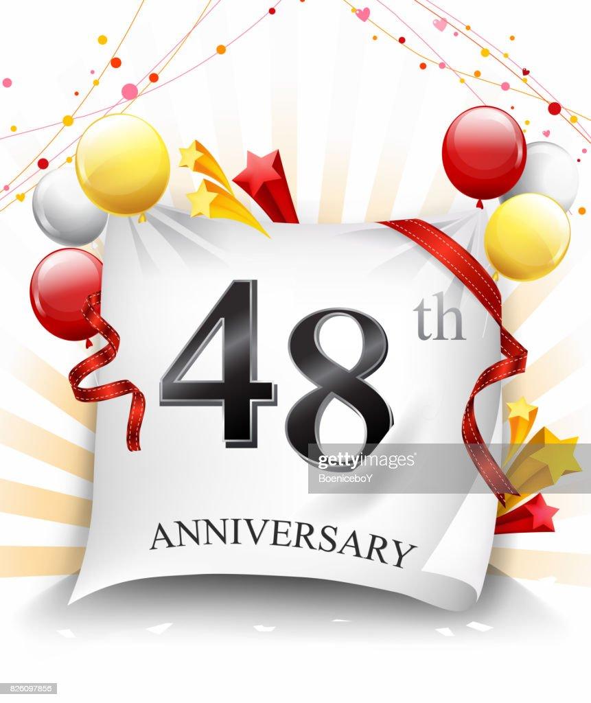 48e Verjaardag Feest Met Kleurrijke Confetti En Ballon Op Doek