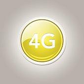 4g Sign Circular Yellow Vector Button Icon