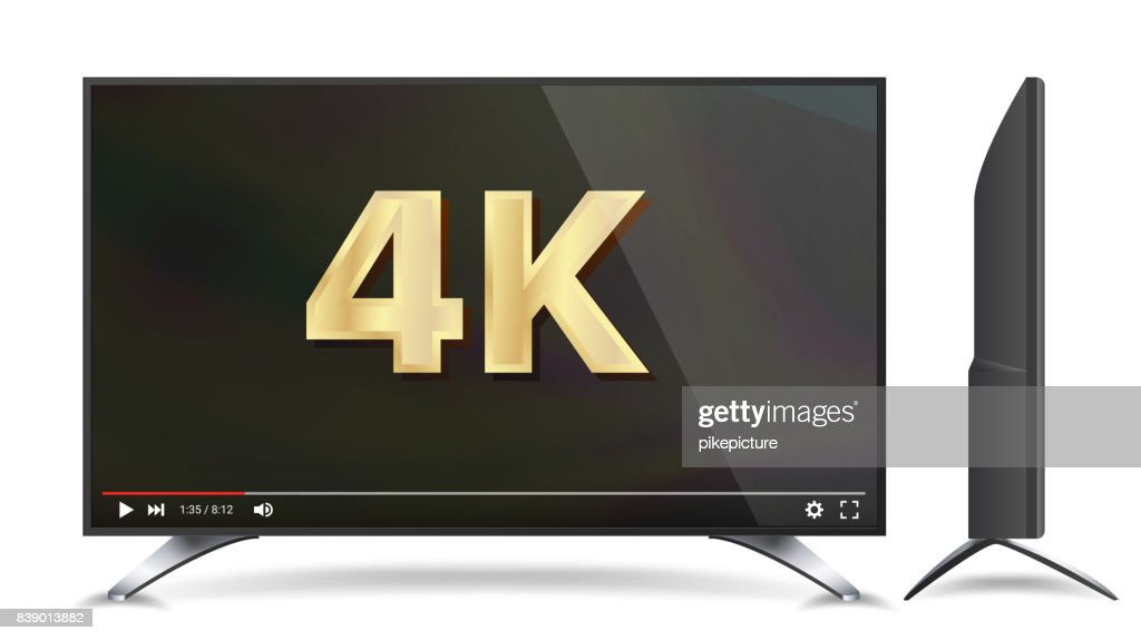 4k TV Vector Screen. Video Player. Modern LCD Digital Wide Television Plasma Concept. Isolated Illustration
