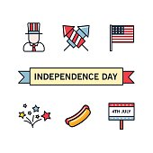 4th July. ndependence Day of America. Vector icons set