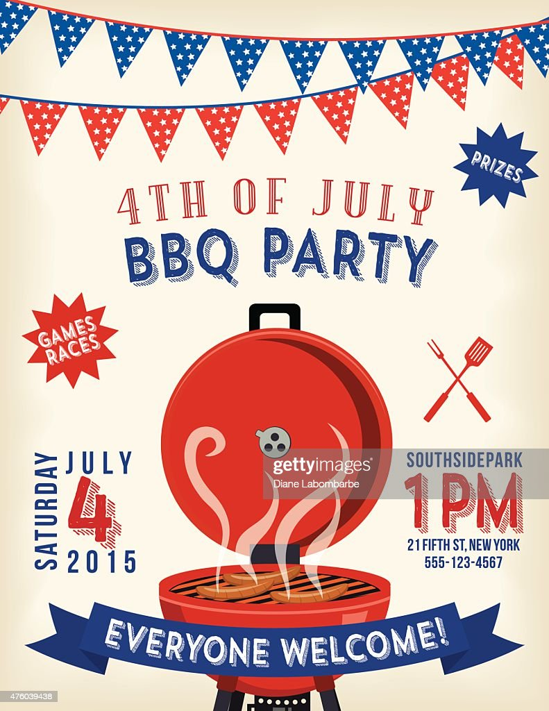 4th Of July Bbq Invitation Template Vector Art   Getty Images