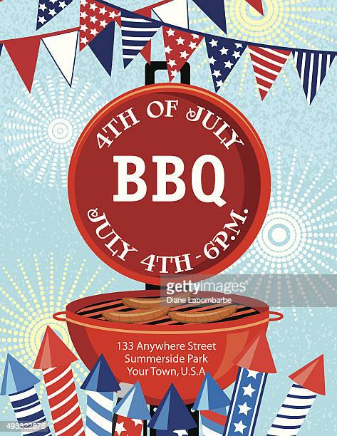 4Th of July BBQ Invitation Template