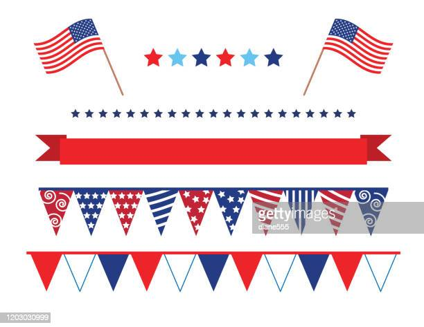 4th of july decoration - american flag stock illustrations