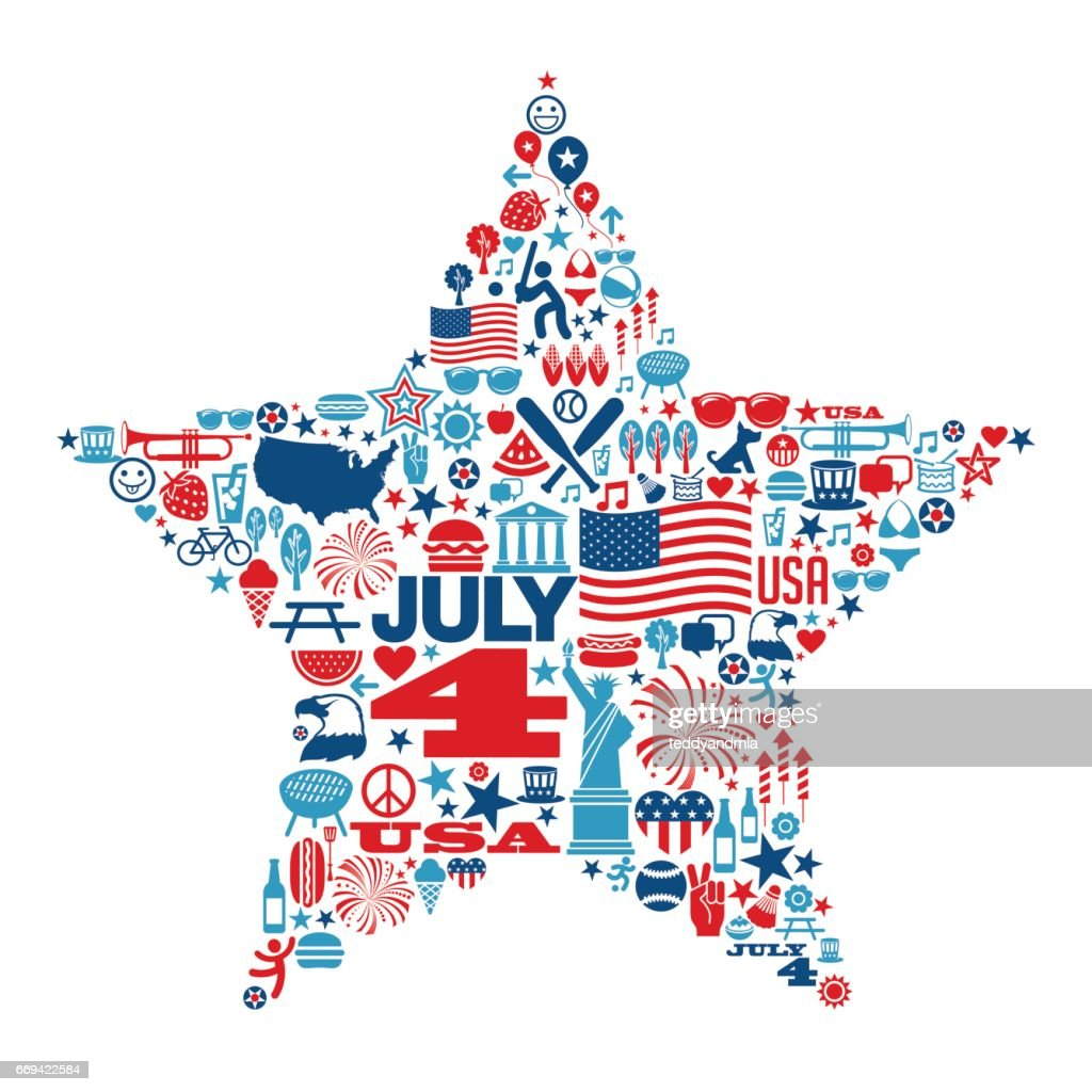4th of July icons and symbols within a star shape
