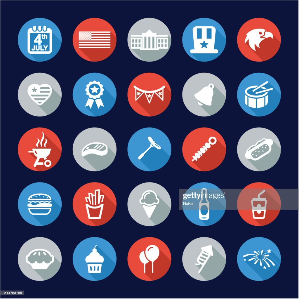 4th Of July Icons Flat Design Circle