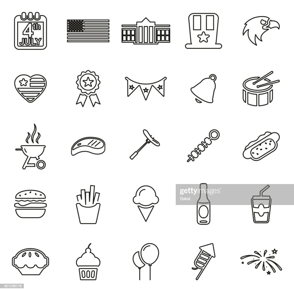 4th Of July Icons Thin Line Vector Illustration Set