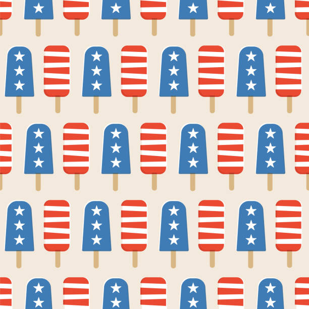 4th of july popsicles seamless pattern. - ice cream stock illustrations