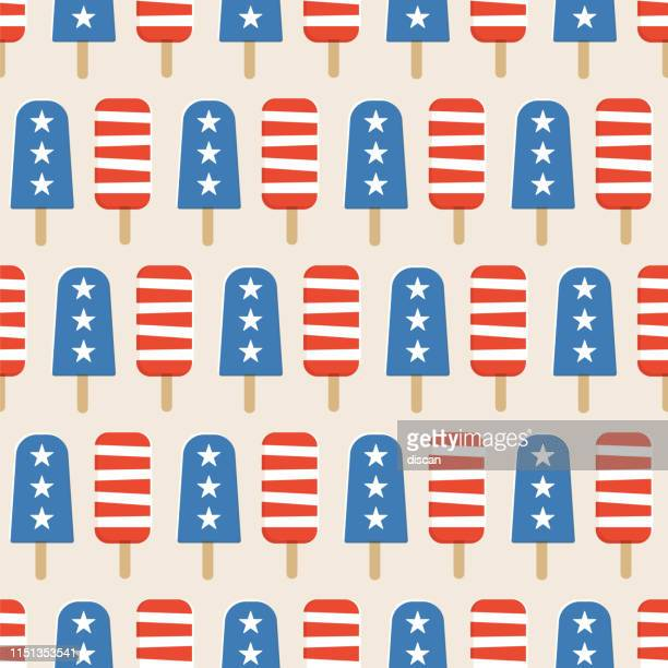 4th of july popsicles seamless pattern. - fourth of july stock illustrations
